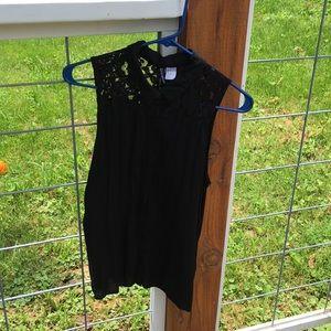 H&M Black lace button tank